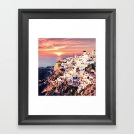 Santorini Sunset View Framed Art Print