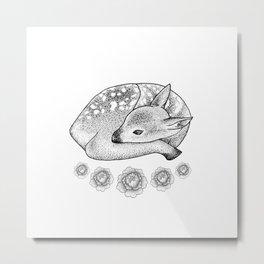 Baby Deer with Peonies Metal Print