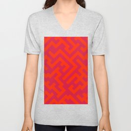Scarlet Red and Crimson Red Diagonal Labyrinth Unisex V-Neck