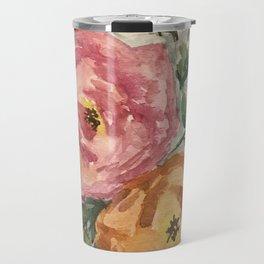 pink and orange flowers Travel Mug