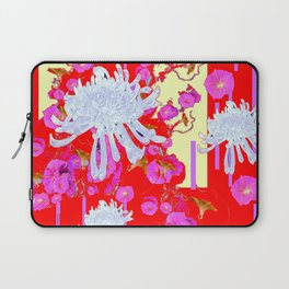 White Spider Mums Red Art Pink Flowers Laptop Sleeve