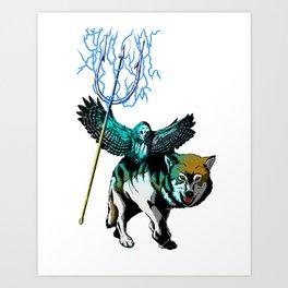 OWL WOLF ALLIANCE 2  Art Print