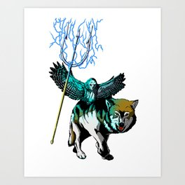 OWL WOLF ALLIANCE 2  Art Print
