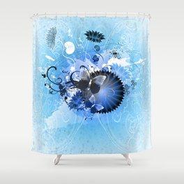 Cool Blue Autumn Jamboree Shower Curtain