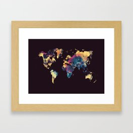world map 79 yellow black Framed Art Print
