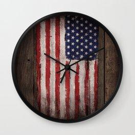 Wood American flag Wall Clock