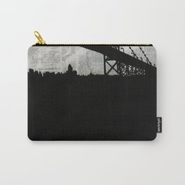 Paper City, Newspaper Bridge Collage Carry-All Pouch