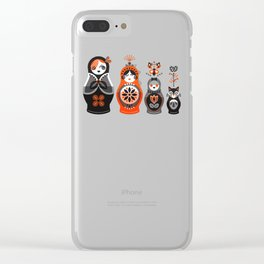 Russian Nesting Dolls – Red & Black Clear iPhone Case