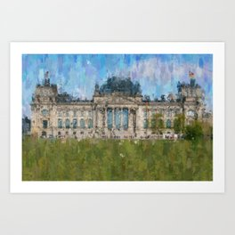 Reichstag, Berlin    /  impressionism style Illustration  / painting abstract landmarks drawing Art Print