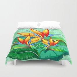 Bird of Paradise Flower Exotic Nature Duvet Cover
