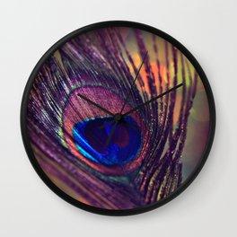 purple peacock feather  Wall Clock