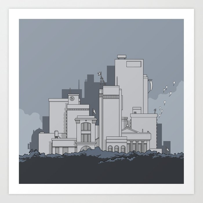 A bunch of buildings Art Print