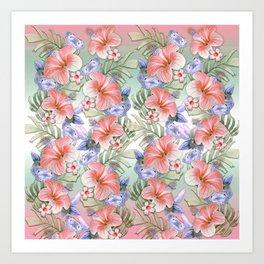Hibiscus Aloha Stripe Art Print