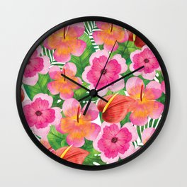 Tropical Flowers in Watercolor Wall Clock