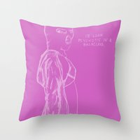 vampire weekend Throw Pillows featuring Spring Breakers/Vampire Weekend (Pink) by Blake Holland