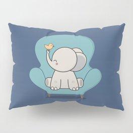 Kawaii Cute Elephant On A Couch Pillow Sham