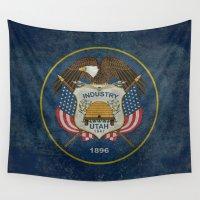 utah Wall Tapestries featuring Utah State Flag - vintage version by LonestarDesigns2020 is Modern Home Decor