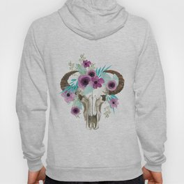 This boho bull skull, features a crown of bright flowers! Hoody