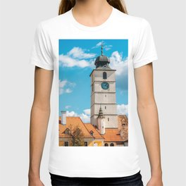 Medieval Houses Of Sibiu City In Romania, Urban Skyline, Architecture Photo, Travel Wall Art Print T-shirt