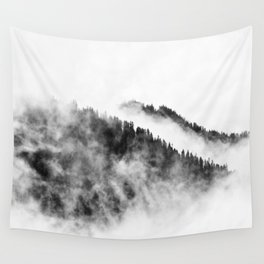 Minimalist Foggy Black And White Forest Mountain Ominous Minimalist Photo Wall Tapestry