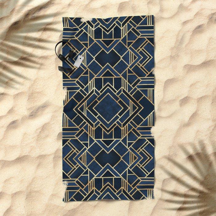 Art Deco Fancy Blue Beach Towel