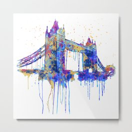 Tower Bridge watercolor Metal Print