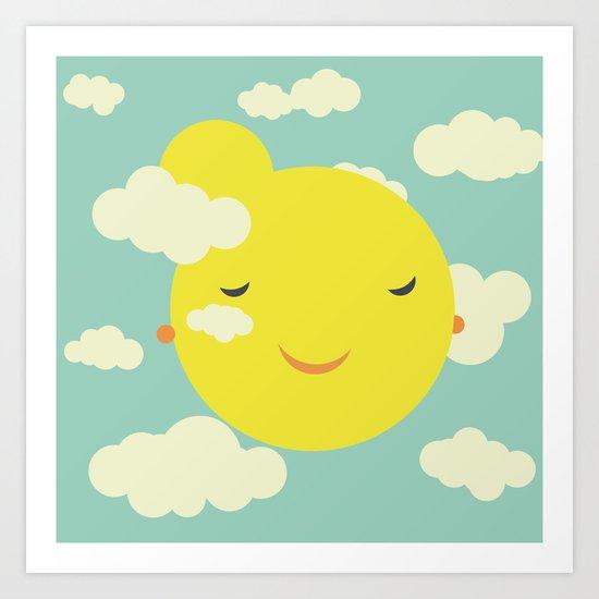 Miss Sunshine in clouds Art Print