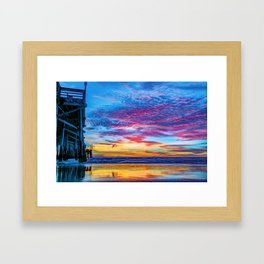 Solstice sunset at Newport Pier Framed Art Print