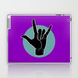ILY - I Love You - Sign Language - Black on Green Blue 05 Laptop & iPad Skin
