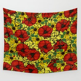 Poppy forget me not Wall Tapestry