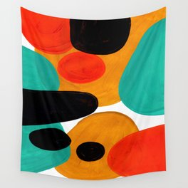 Mid Century Modern Abstract Minimalist Retro Vintage Style Rolie Polie Olie Bubbles Teal Orange Wall Tapestry