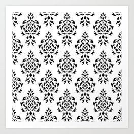 Crest Damask Repeat Pattern Black on White Art Print