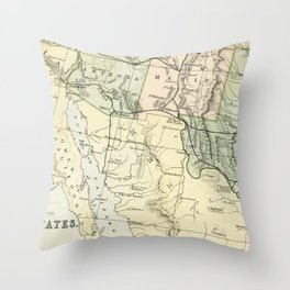 Vintage Map of the South West Of The United States Throw Pillow