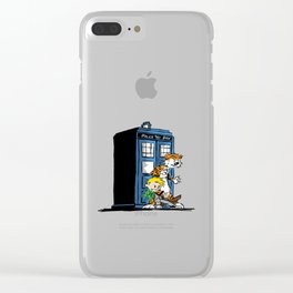 calvin and hobbes police box in action Clear iPhone Case
