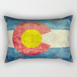 Coloradan flag in Retro Grunge Rectangular Pillow