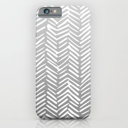 Geometric Art, Herringbone, Mudcloth, Gray and White, Boho Art iPhone Case