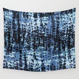 blue black shibori tie dye Wall Tapestry