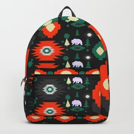Traditional Christmas pattern with bears and trees Backpack