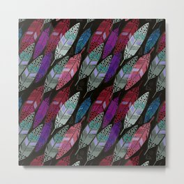 Multi colored feathers on black background . Metal Print