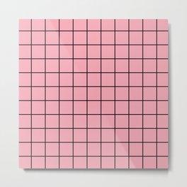 Pink Grid Metal Print