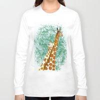 giraffes Long Sleeve T-shirts featuring giraffes by Isabel Sobregrau
