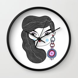 Girl With A Giant Earring Wall Clock