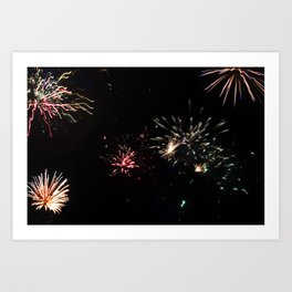 Bright Fireworks at Night Photograph Art Print