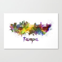 Tampa skyline in watercolor Canvas Print