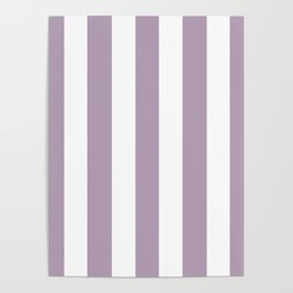Pastel purple - solid color - white vertical lines pattern Poster