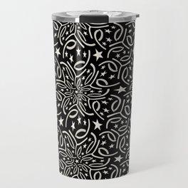 SHANTUNG black and white pattern of lacy starburst Travel Mug