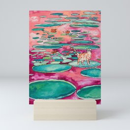 Ginger Cat amongst the Lily Pads on a Pink Lake Mini Art Print