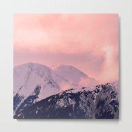 Kenai Mts Bathed in Serenity Rose - II Metal Print