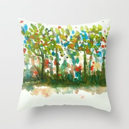 Silent Woods, Abstract Watercolors Landscape Art Throw Pillow