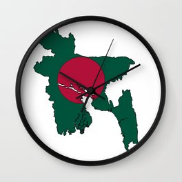 Bangladesh Map with Bangladeshi Flag Wall Clock